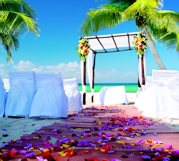 all inclusive beach wedding destinations%0A     a bold color makes all the difference for this simple beach setup at  Azul Fives  The purple is a surprise and looks amazing for this beachfront  wedding