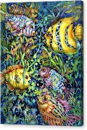 Fish Tales Iv Canvas Print by Ann  Nicholson