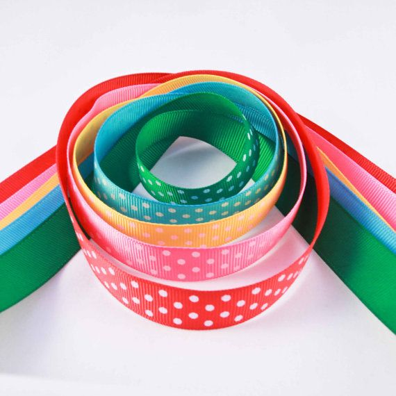High quality stunning grosgrain ribbons with polka dots for the new season! Lovely bright colours to welcome the new year! Combination of red, pink, yellow, blue, and green!