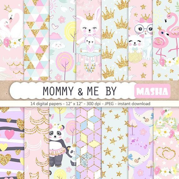 Nursery Digital Paper Pack Mommy and Me Digital Papers Baby #nursery #digital #papers #baby #patterns #seamless #planner #stickers #etsy #shop #supplies #printable #patterns #download #princess #panda #cute #animals #swan #flamingo #cat #bunny #mothers #day