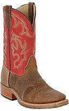 Double H ICE Collection Mens Old Town Brown w/Red Top Square Toe Western Work Boot