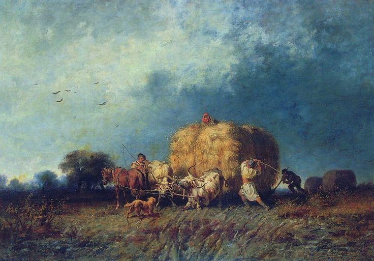 Munkácsy Mihály (1844-1900) - Dűlő szénás szekér