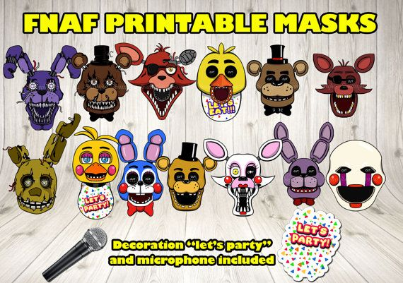 ★ FIVE NIGHTS AT FREDDYS MASKS SET !! INSTANT DOWNLOAD!!★ This item is a PDF FILE (total 15 sheets, 13 for masks, 1 for the microphone and 1 for the lets party decoration). You dont receive a PHYSICAL PRODUCT. As soon as your payment is confirmed, a link be able to access your files on your receipt page via the Files Ready to Download button. You will also receive a link for downloading in your email (please check your SPAM folder also)  This item is a HIGH QUALITY PDF FILE (300dpi). YOU CAN…