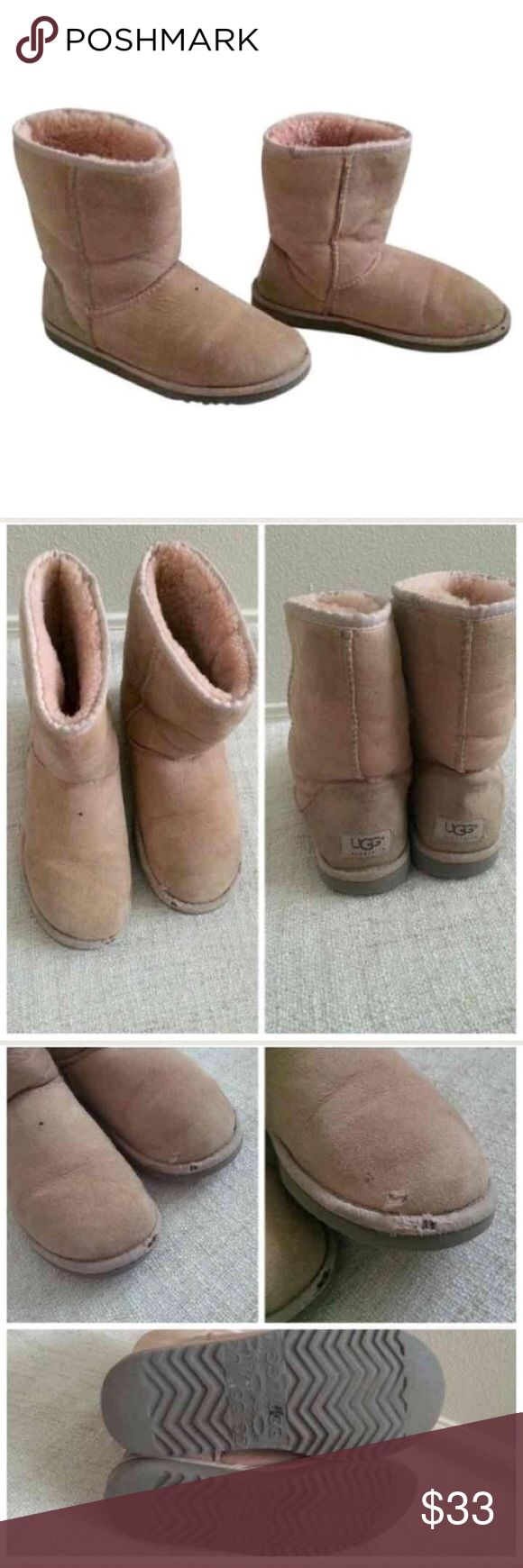 Ugg light pink women's boots size W6 Good used condition. Size 6 Super warm  boots with real sheep wool , good used condition, has little stains and scratches It has a small hole ,Water can be held,  you can see on pictures .  thick fur  waterproof warm boots  .                                                                 Thank you for looking and please feel free to view my other items :) UGG Shoes Ankle Boots & Booties