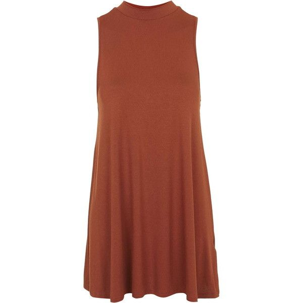 TOPSHOP PETITE High Neck Flippy Tunic ($38) ❤ liked on Polyvore featuring dresses, petite, rust and topshop