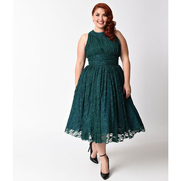 Unique Vintage Plus Size 1940s Teal Lace Sleeveless Roosevelt Swing... (€73) ❤ liked on Polyvore featuring plus size women's fashion, plus size clothing, plus size dresses, green, plus size swing dress, vintage lace dress, white dresses, women plus size dresses and vintage cocktail dresses
