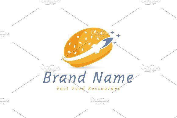 For sale. Only $29 - food, rocket, burger, trace, eat, fast, speed, space, star, exploration, planet, memorable, creative, retro, missile, bun, sesame, orbit, bread, roll, restaurant, bistro, bakery, travel, negative space, logo, design, template,