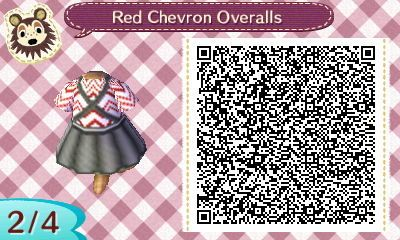 "cubbycloset:  "" Here is my first QR code! It's a simple overall jumper with a red and white chevron shirt underneath. The flare part of the skirt doesn't line up perfectly, but I think it's good for a first try!  Thank you to @acnlapparel for their..."