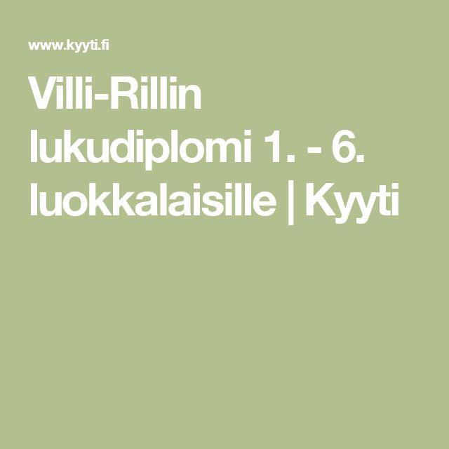 Villi-Rillin lukudiplomi 1. - 6. luokkalaisille   Kyyti