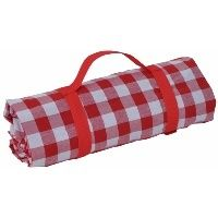 XXL Red & White Gingham Picnic Blanket with Carrier