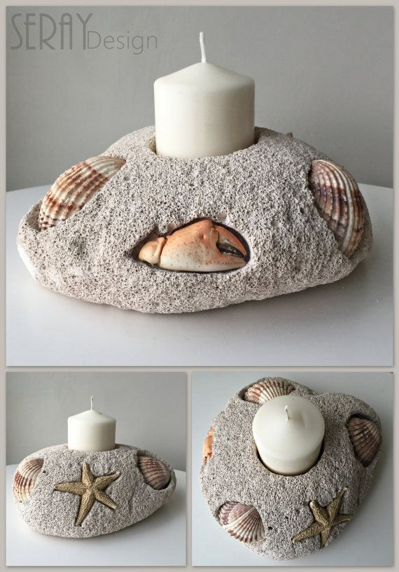 Nautical Candle Holder//Natural Decor//Beach Gift//Big Seashells Decor//Starfish&Crab Decor with Candle//Pumice Stone Candle Holder