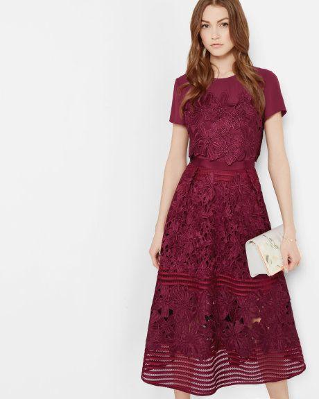 Sheer panel lace dress - Oxblood   Dresses   Ted Baker SEU