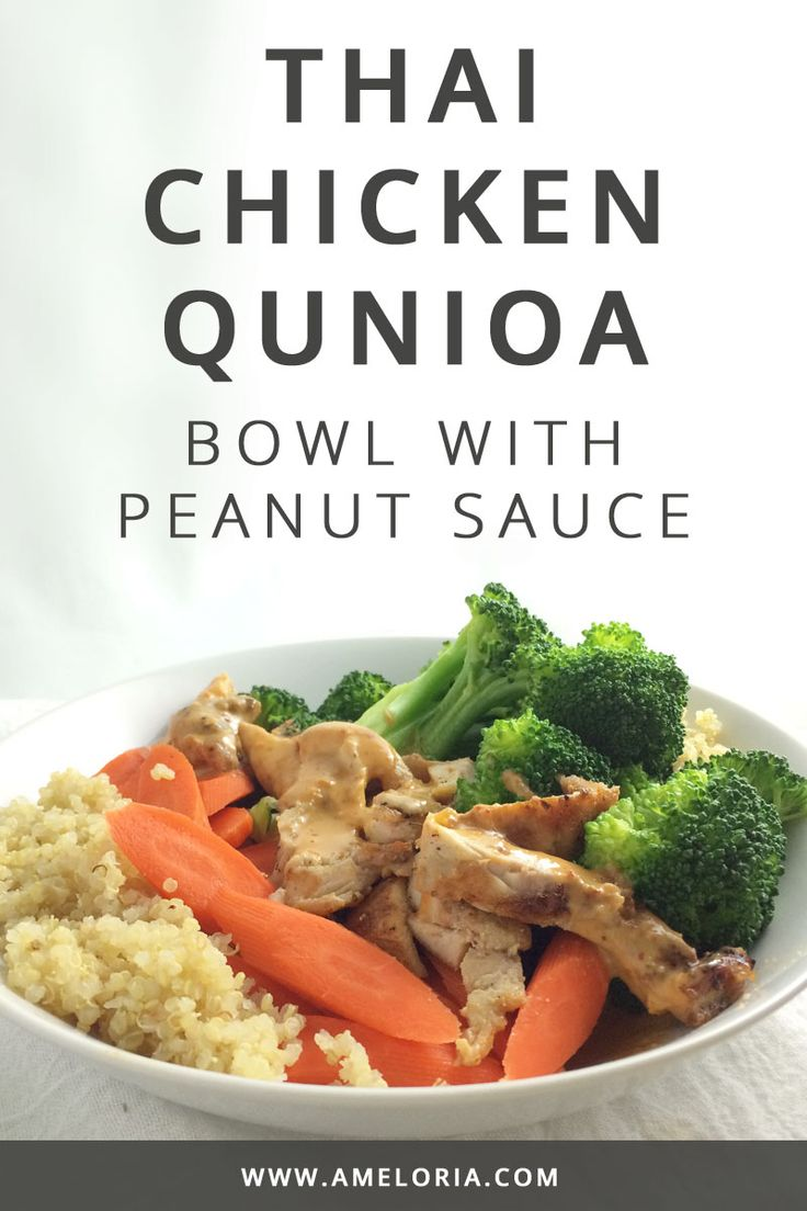 Clean eating Thai Chicken Quinoa Bowl that you can easily make ahead for meals all week long. Click for recipe. | Ameloria Wellness