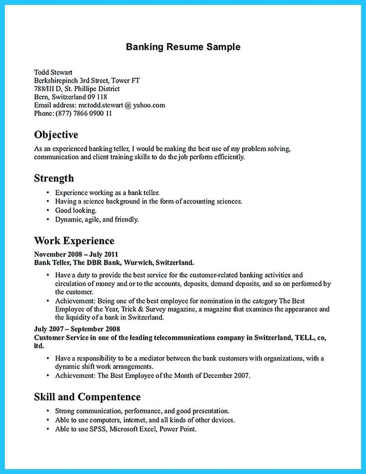 nice One of Recommended Banking Resume Examples to Learn, Check more at http://snefci.org/one-of-recommended-banking-resume-examples-to-learn