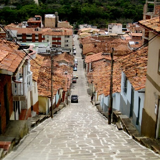 The steep streets of San Gil, Colombia