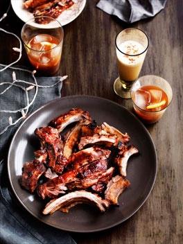 Sticky bourbon pork ribs.