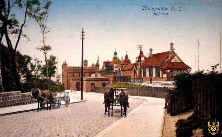 Stacja kolejowa Chorzów Miasto (Bahnhof), Chorzów - 1910 rok, stare zdjęcia