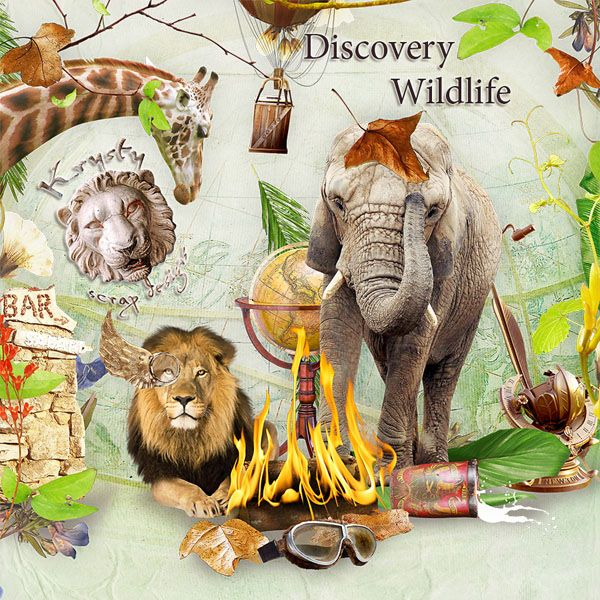 Discovery Wildlife by Krysty Scrap Designs #digitalcollage #digital #art #photomanipulation #artjournaling #scrapbook #wildlife #africa