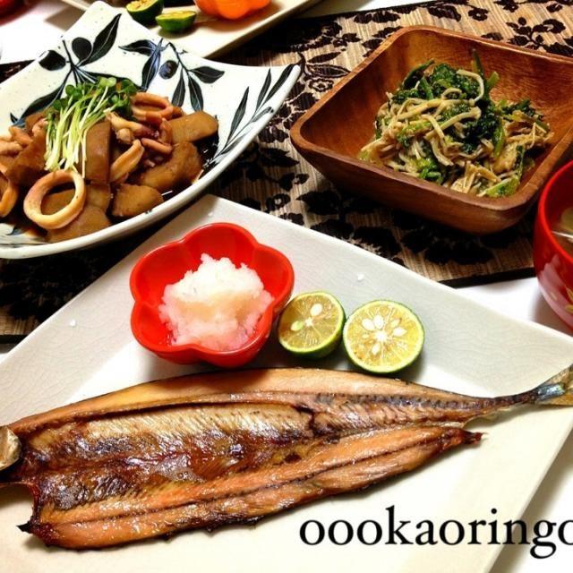 連休に行った銚子で買った秋刀魚の干物とイカを使って和食♡ - 39件のもぐもぐ - 秋刀魚の干物、イカと里芋の煮物、ほうれん草とえのきの胡麻和え、あさりのお味噌汁 by Kaori Takeda