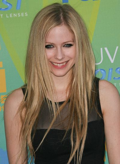 Avril Lavigne Long, Straight, Layered, Blonde Hairstyle