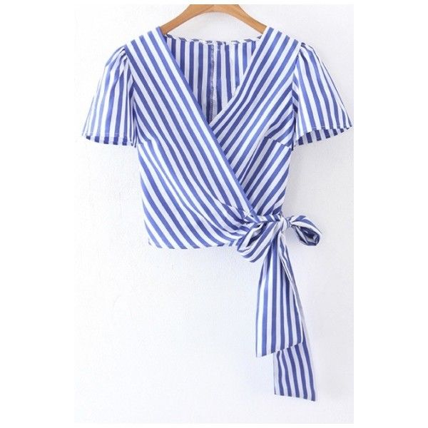 Wrap V Neck Short Sleeve Striped Printed Bow Tie Waist Cropped Blouse ($27) ❤ liked on Polyvore featuring tops, blouses, short crop tops, striped blouse, v neck blouse, collar blouse and tie waist blouse