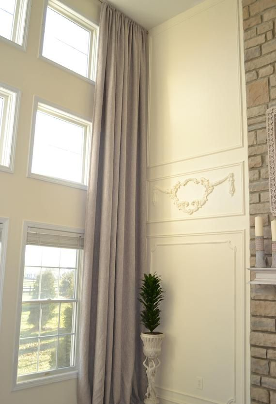 Extra Long Luxury Solid Linen Curtain Custom Made 14 15 16 17 18 20 24 Feet 9 Ft Wide White Beige Gray Dark Blue 2 Story Drapes Free Swatch With Images Linen Curtains Curtains Grey Window Treatments
