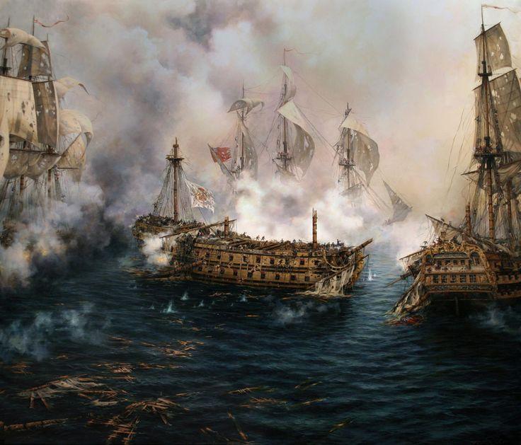 «El último combate del Glorioso», el navío de la Armada que plantó feroz lid a 12 barcos ingleses en tres batallas diferentes en 1747. Pintura de Ferrer-Dalmau