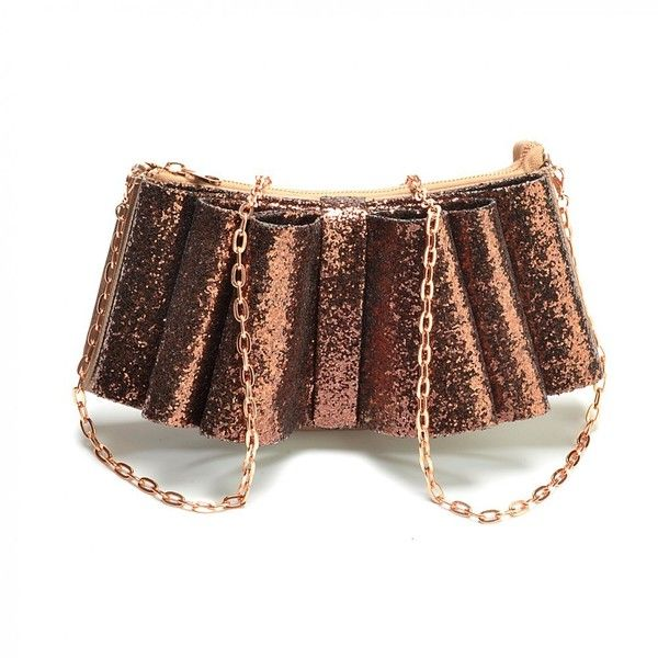 Ted Baker Bag Bronze Glittery Bowden Evening Bag ($115) ❤ liked on Polyvore