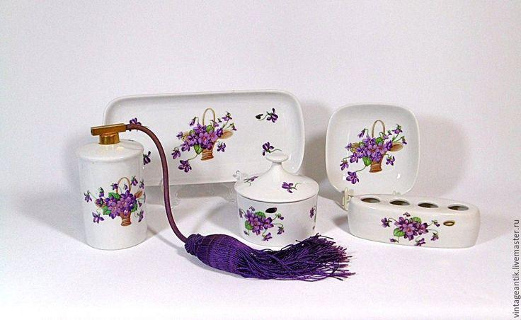 Купить интажный набор для дамского туалетного столика/ванной - комбинированный, фарфор, фарфор