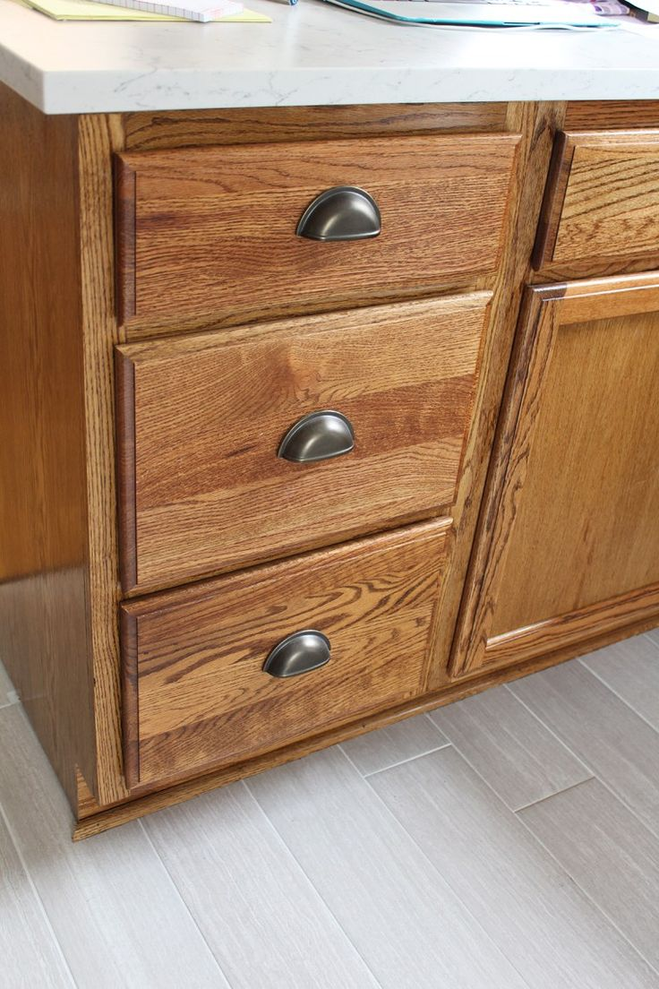 Kitchen Renovation: Cabinet Stain and Hardware (With ...