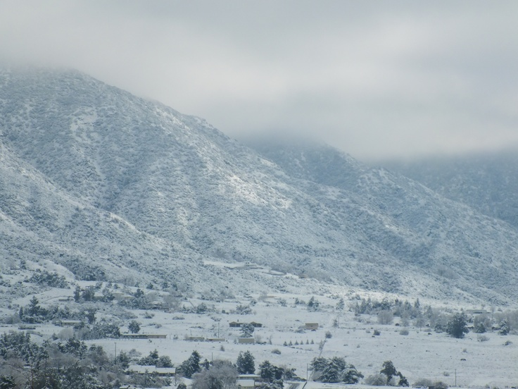 Snow in Yucaipa with Oak Glen in the background