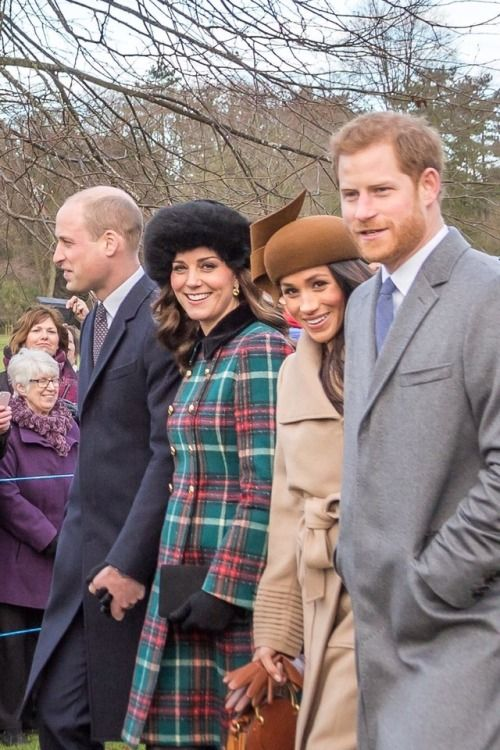 Their Royal Highness's The Duke and Duchess Of Cambridge and Prince Harry and Megan Markle on their way to church for the Christmas service. 25th of December 2017.