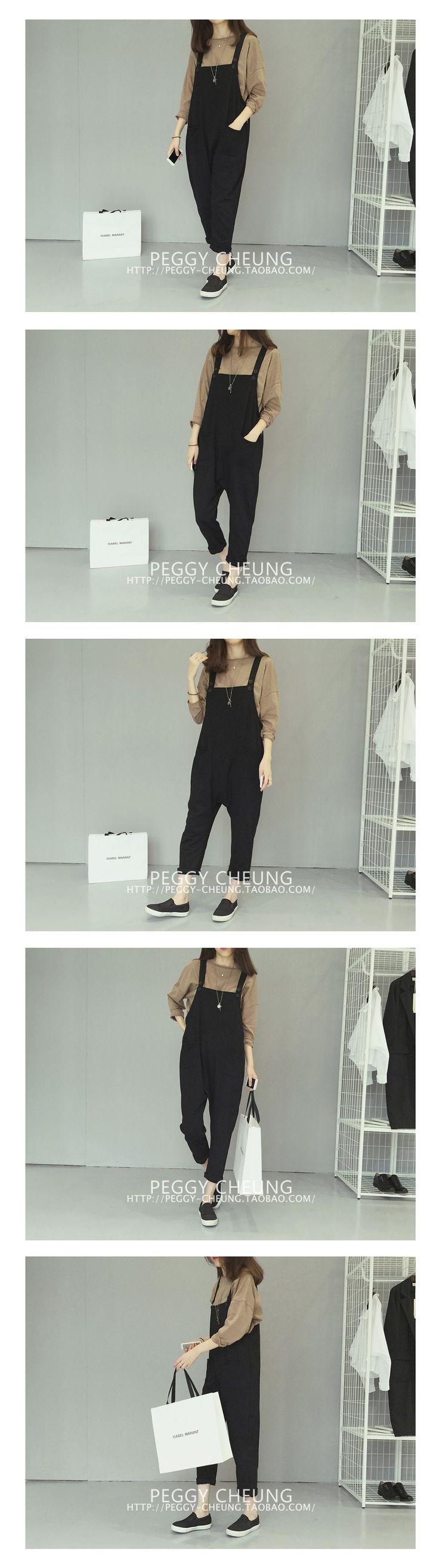 2016 new spring Korean women's casual pants loose cross-pants pants pants wild suspenders Bib eighth - Taobao global Station