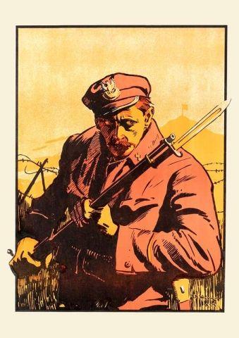 Człowiek z bagnetem - przedwojenny.pl Przedwojenny polski plakat z czasów II RP