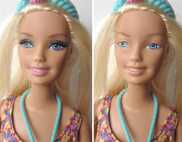 And this is why I can't leave the house without makeup... Standards set by a plastic doll