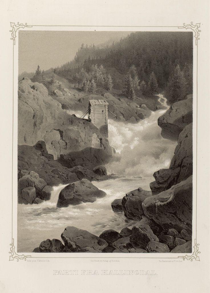"""Hans Gude - Parti fra Hallingdal. Illustrasjon hentet fra boken """"Norge fremstillet i billder"""" 1848 by Chr. Tønsberg. jpg (3544×4936)"""
