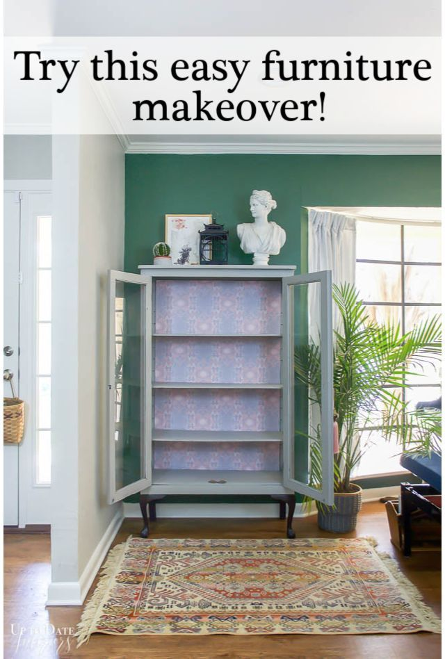 How To Easily Update Furniture With Peel And Stick Wallpaper Up To Date Interiors Wallpaper Furniture Furniture Makeover Interior Furniture