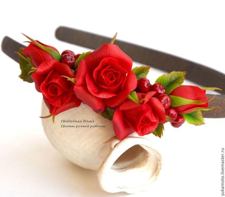 """Обруч """"Шик"""" - ярко-красный,венок на голову,венок с цветами,венок с розами"""