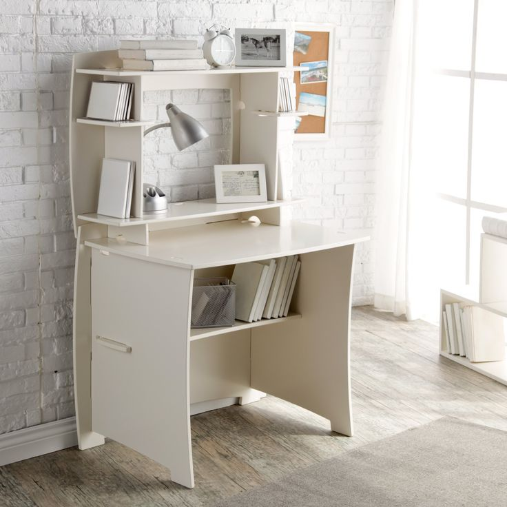 Legare 36 in. White Writing Desk with Hutch - The compact Legare 36 in. White Writing Desk with Hutch fits in the smallest of spaces, yet provides highly functional vertical storage. It comes comp...