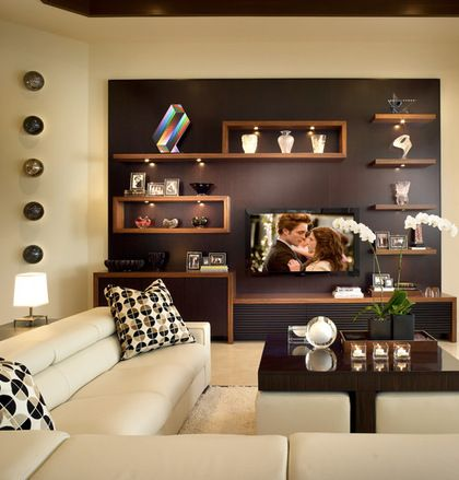 Houzz - Love this TV wall with shelves.