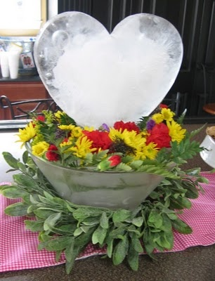 make your own ice sculpture from candy or cake molds