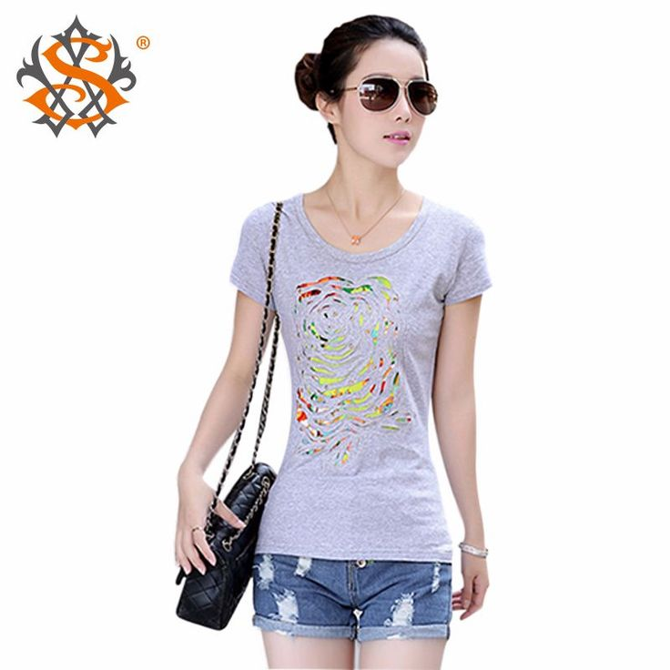 T-shirt womens scratch solid color O-Neck cotton tops tees tshirt http://mobwizard.com/product/fashion-wom32324040497/
