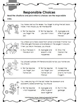 Second Step: 2nd GradeLesson WorksheetsThank you for downloading this resource. This sample worksheet was created to go with lesson 19 of the Second Step Curriculum for 2nd Grade. This worksheet covers the topic of taking responsibility. The worksheet was specifically designed to decrease the amount of writing students would need to do.