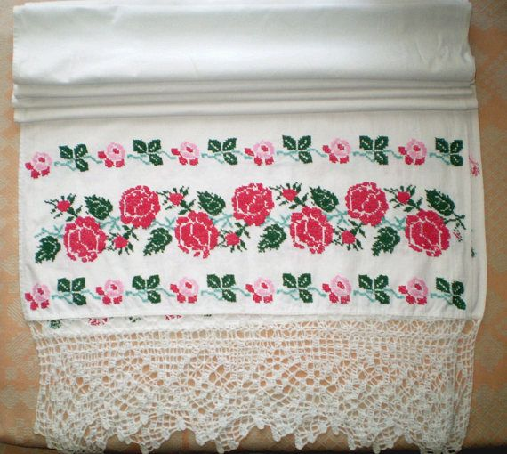 Vintage Ukrainian Embroidered Towel Cross Stitch Embroidery