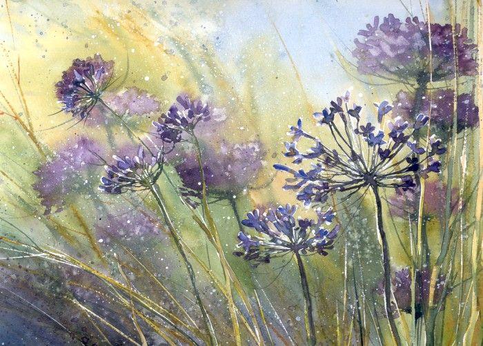 Summer and violet (watercolor) by nibybiel.deviantart.com