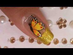 Decoración de uñas con flor - YouTube