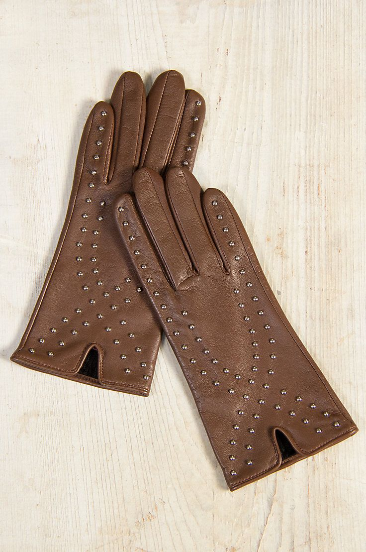 Ladies leather gloves selfridges - Gussie Up The Season With Millie Leather Gloves Tastefully Embellished With Silver Studs For