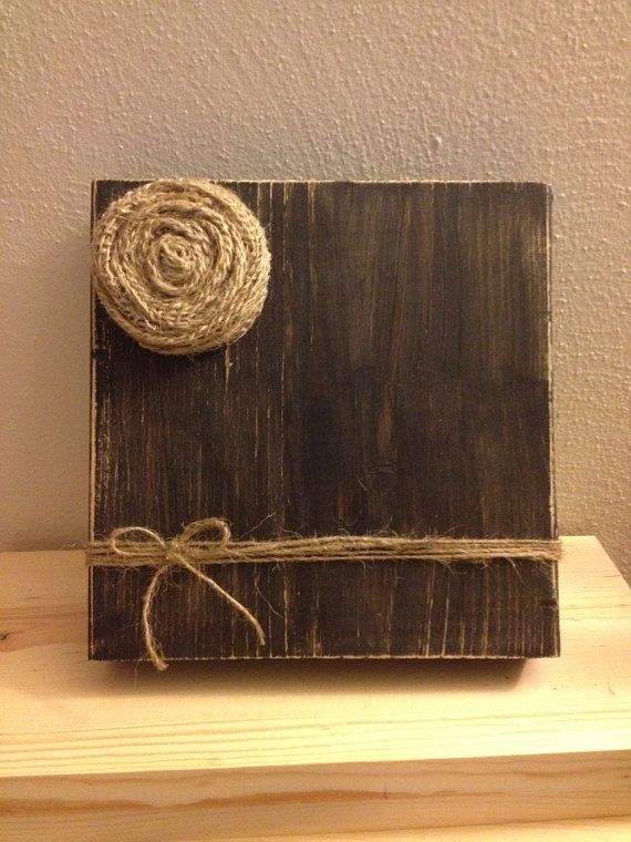 Rustic Wood Photo Frame with Twine Holder & Burlap Flower (Black) on Etsy, $15.00