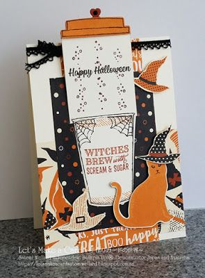 Spooky Halloween Café!  Satomi Wellard-Independent Stampin'Up! Demonstrator in Japan and Australia, #su, #stampinup, #cardmaking, #papercrafting, #rubberstamping, #stampinuponlineorder, #craftonlinestore, #papercrafting, #handmadegreetingcard, #greetingcards, #handmade, #onlinestore, #halloweenprojekt, #spookycat, #merrycafe, #coffeecupdie, #slidercard, #catpunch, #witches…