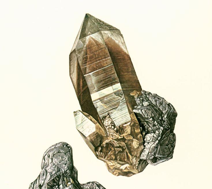 1970 Illustration Molybdénite. Cristal de roche. Planche Originale Pierres Mineraux Roches Cristaux. Geologie. Decoration murale. de la boutique sofrenchvintage sur Etsy